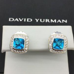 David Yurman 925 7mm Blue Topaz Earrings
